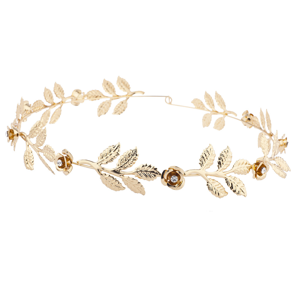 Lux accessories gold tone and rhinestone leaf leaves metal flower gold tone and rhinestone leaf leaves metal flower crown izmirmasajfo