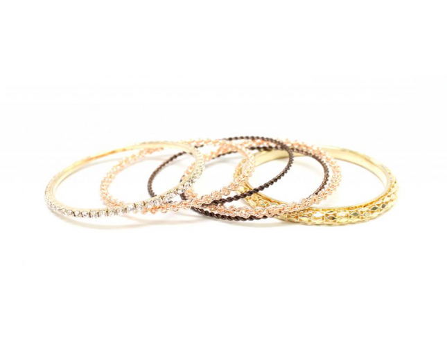 Dazzling Mixed Metal Bangle Set