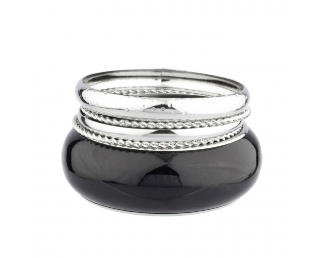 Large Black Bange Textured Bangle Set (5 PC)