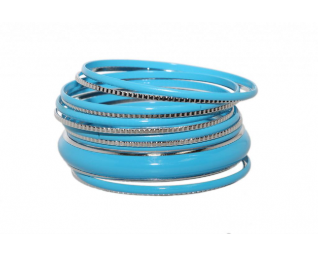 Light Sky Blue Enamel Textured Multi Bangle Set