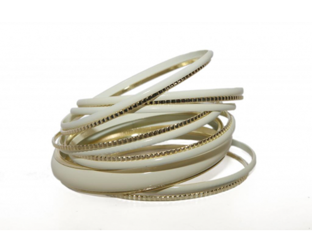 Off White Creme Enamel Textured Multi Bangle Set