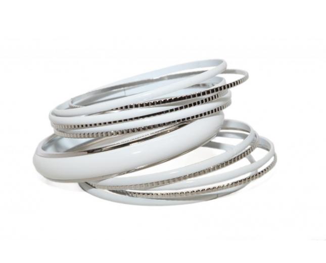 White Enamel Textured Multi Bangle Set
