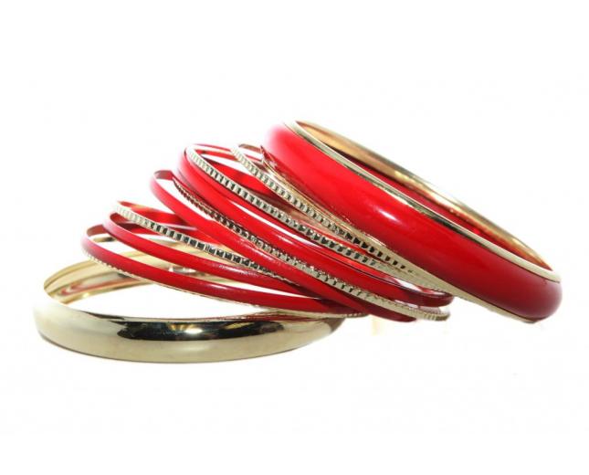 Red Enamel Multi Bangle Set (13 PC)