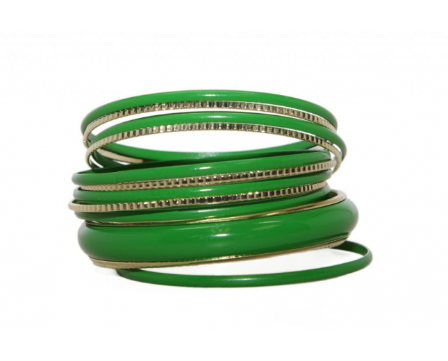 Green Enamel Textured Multi Bangle Set