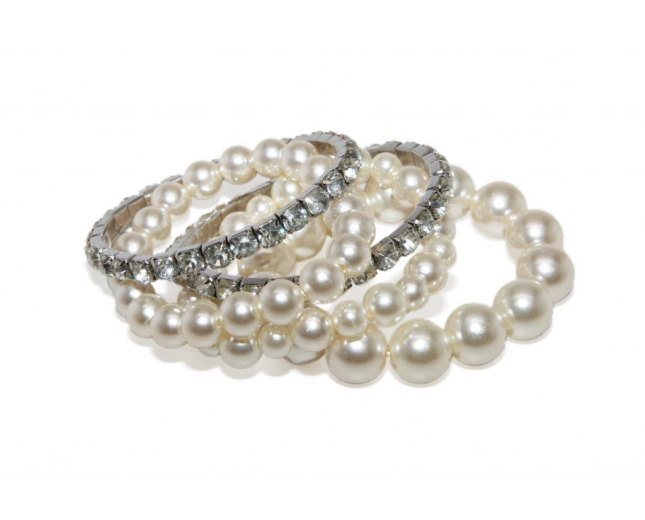 Faux Faux Pearl White Crystal Rhinestone Stretch Bracelets (4 PC)