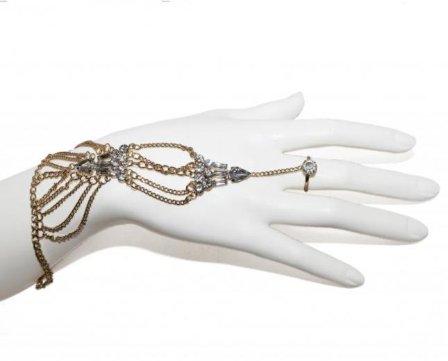 Chain Rhinestone Handchain Bracelet Ring Hand Chain