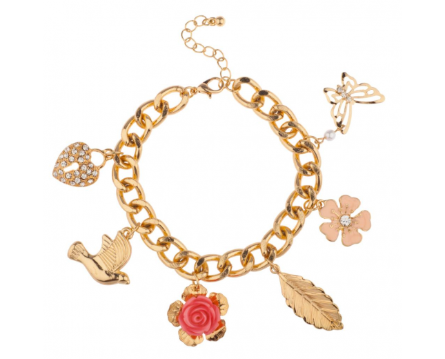 Dove Pave Heart Lock Flower Rose Bird Butterfly Leaf Floral Charm Bracelet