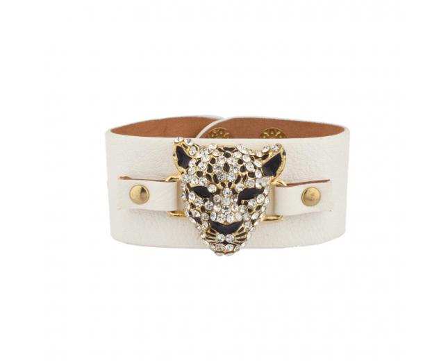 Leopard Pave Cat White Faux Leather Snap Bracelet