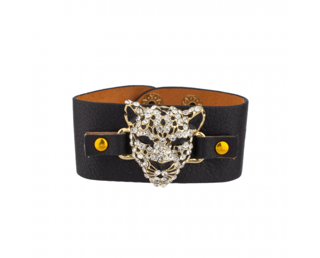 Leopard Pave Cat Black Faux Leather Snap Bracelet