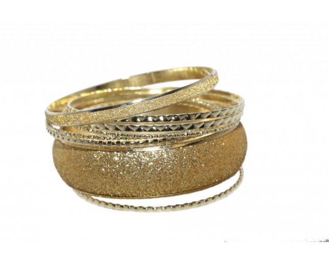 Glitter Glam Textured Multi Bangle Set (8 PC)