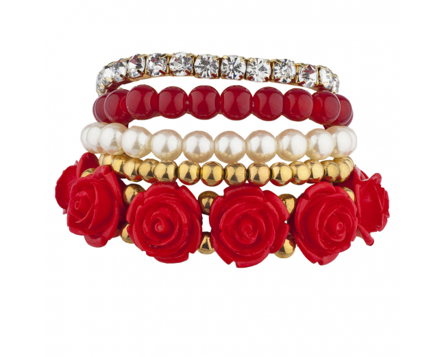 Goldtone Red Pearl Flower Beaded Rhinestone Stretch Bracelet 5PC