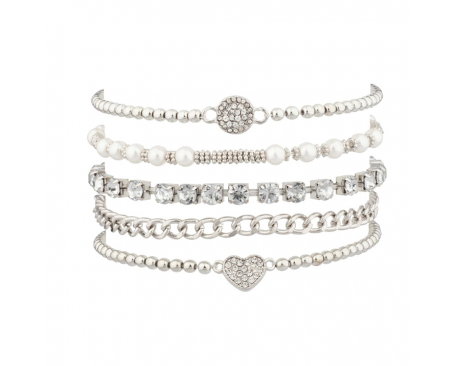 Pave Heart Chain Link Faux Pearl Circle Arm Candy BFF Bracelet Set