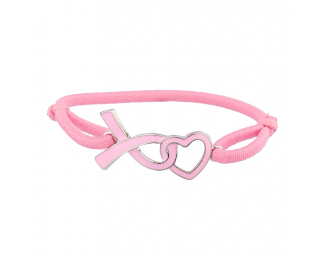 Breast Cancer Awareness Believe Cutout Heart Pink Stretch Bracelet