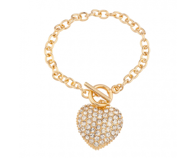 Pave Heart Toggle Chain Link Bracelet