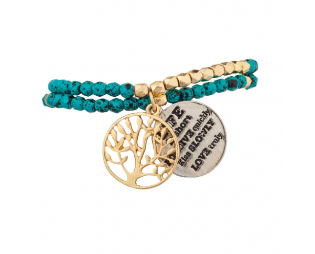 Tree of Life Turquoise Life is Short Forgive Quickly Kiss Slowly Love Truly BFF Best Friends Forever Bracelet Set (2 PC)