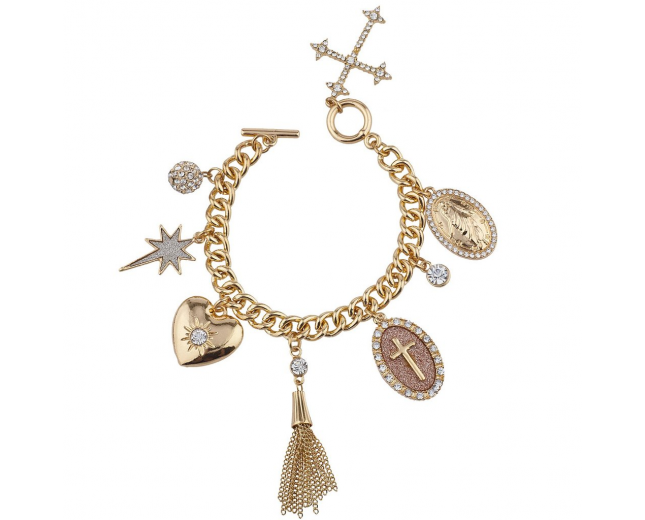 Gold Tone Sticker Glitter Religious Cross Multi Charm Bracelet