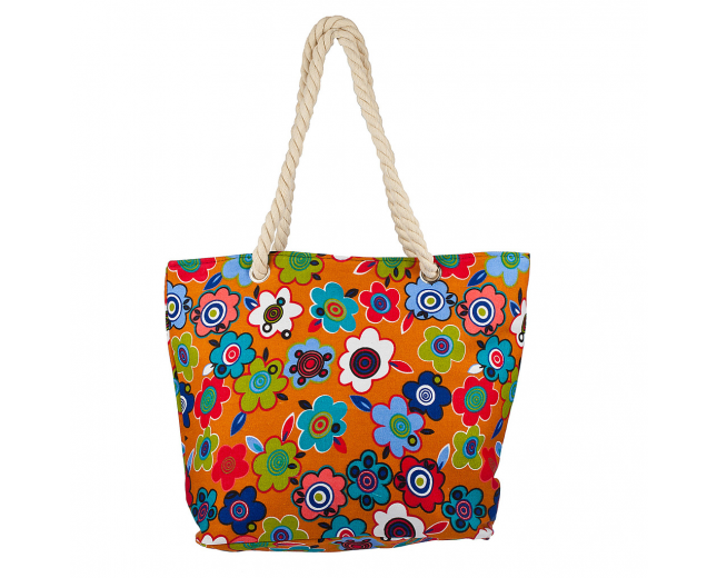 Womens Extra Large Zip Up Beach Tote Bag Flower Pattern