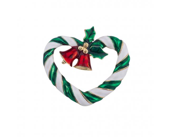 Holiday Christmas Xmas Wreath Church Bells Holly Brooch Pin
