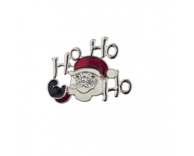 Ho Ho Ho Merry Christmas Holiday Xmas Santa Brooch Pin