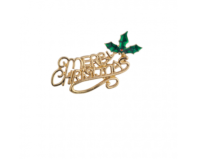 Holiday Gold Tone Merry Christmas Xmas Festive Brooch Pin