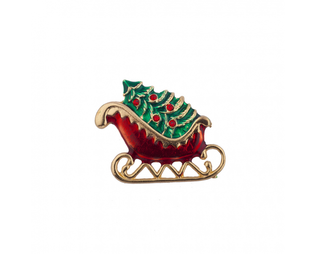 Holiday Christmas Tree Sleigh Riding Santa Sled Xmas Brooch Pin