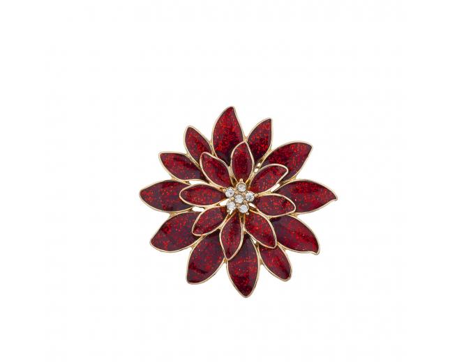 Christmas Xmas Holiday Red Gold tone Glitter Brooch Pin