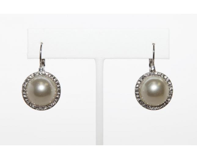 Faux Faux Pearl Rhinestone Drop Dangle Earrings
