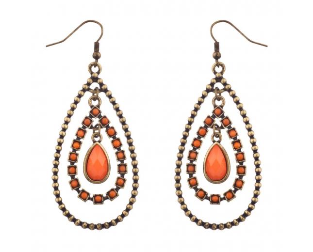 Orange & Burnished Gold Tear Drop Statement Earrings