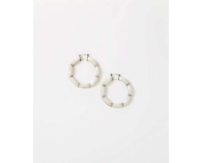 Ivory Facet Hoop Earrings
