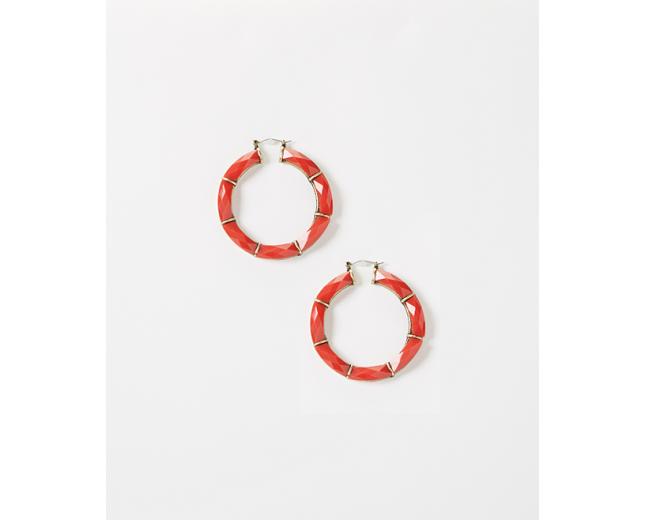 Coral Facet Hoop Earrings