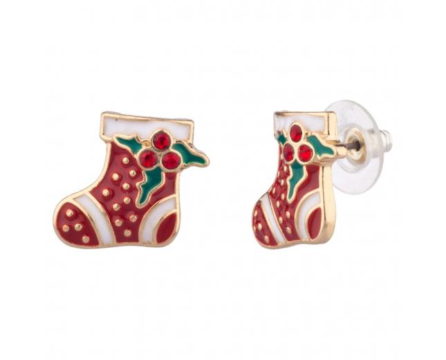 Christmas Stocking Mistletoe Red Xmas Stuff Earrings