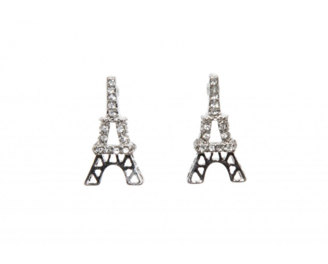 Eiffel Tower Paris Rhinestone Stud Earrings