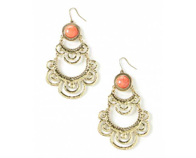 Coral Spotlight Drop Earrings