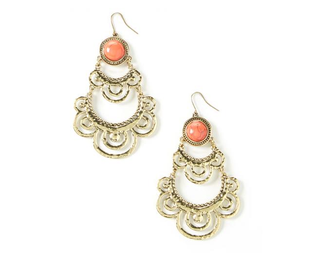 Coral Spotlight Drop Earrings