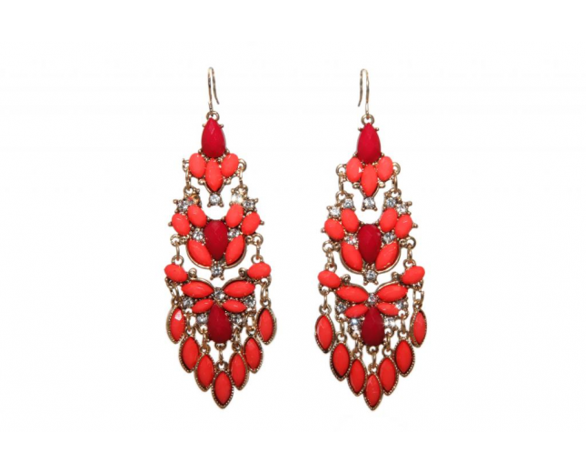Red Orange Stone Cluster Statement Earring