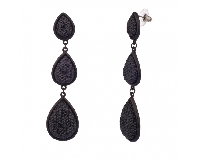Black Textured Tear Drop Dangle Earrings
