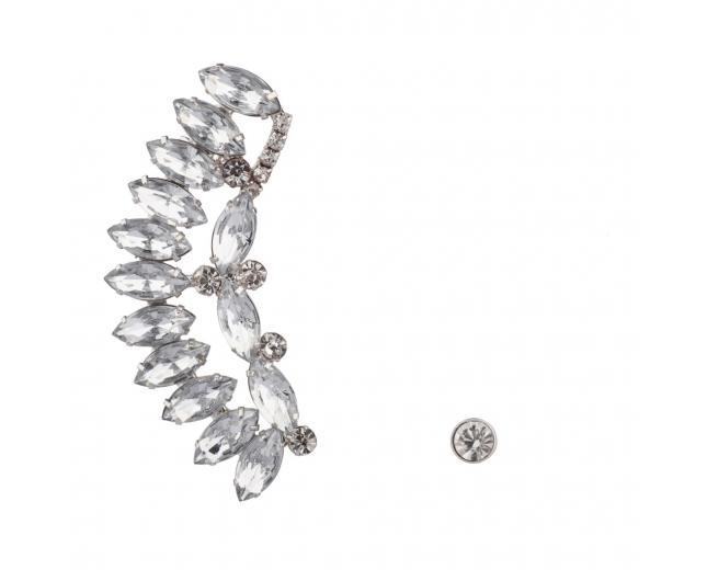 Crystal Wing Ear Cuff Bridal Stud Earring Set