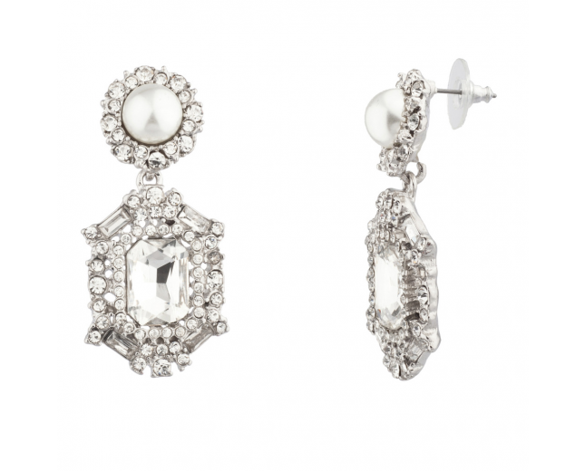 Elegant Crystal Pave Bridal Faux Pearl Dangle Earrings