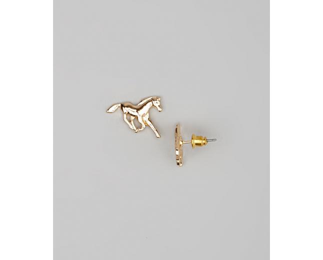 Kids Girls Gold Running Horse Stud Earrings