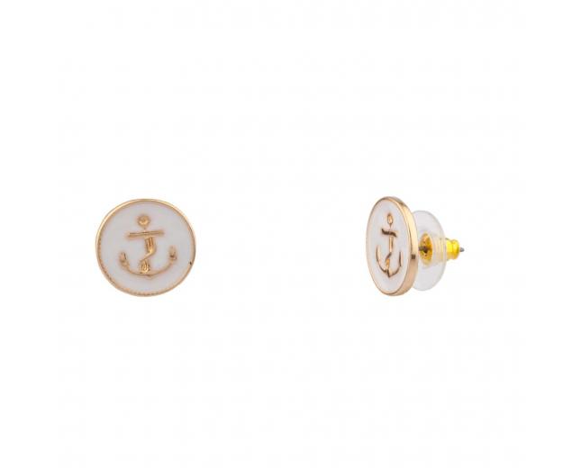 Womens Kids Girls White Anchor Sailor Stud Earrings
