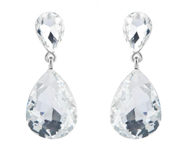 Silver Tone Bridal Occasion Teardrop Crystal Dangle Earrings