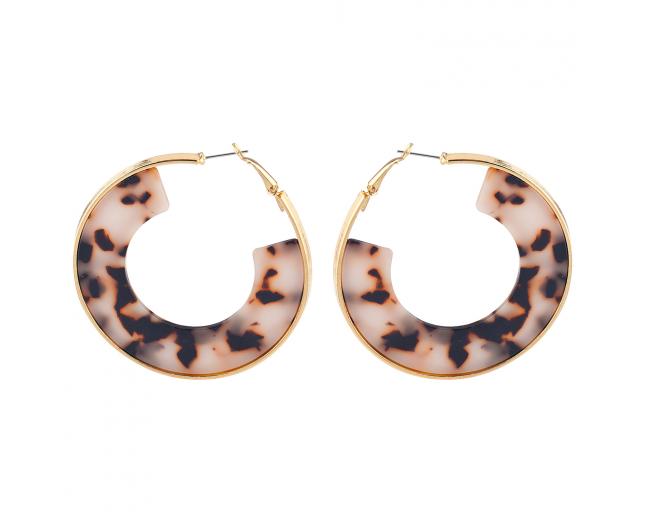 Gold Tone Brown Tortoise Hoop Half circle Earrings for Women