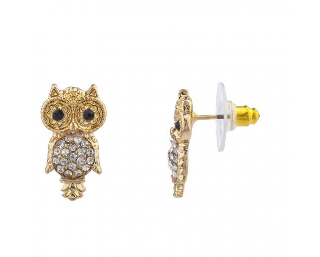 GoldTone Crystal Rhinestone Black Eyes Hammered Owl Stud Earring