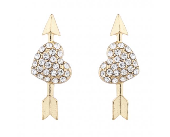 Goldtone Crystal Heart Valentines Day Novelty Arrow Earrings