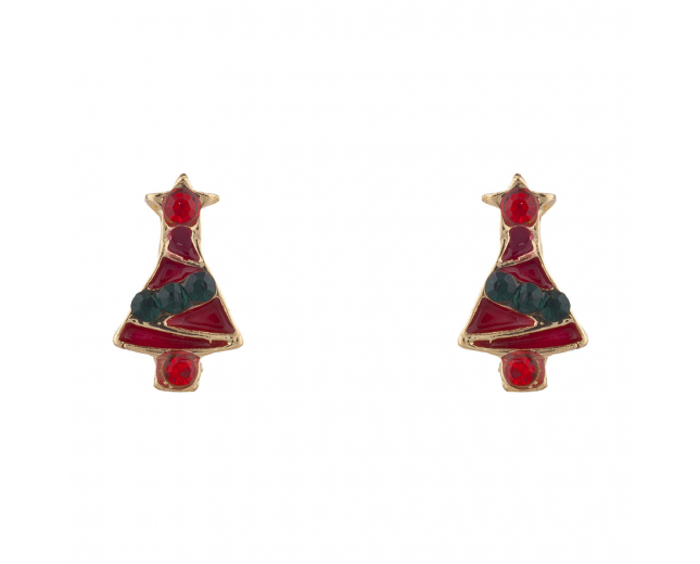 Goldtone Red Green Enamel Rhinestone Xmas Tree Stud Earring