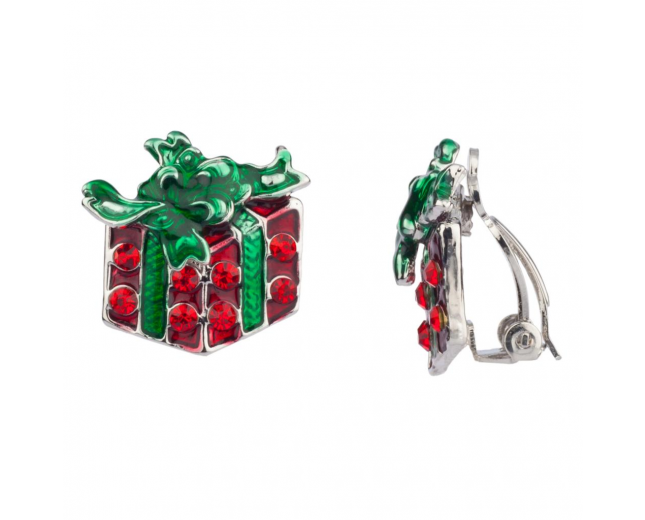 Christmas Gift Pave Xmas Bow Clip On Earrings