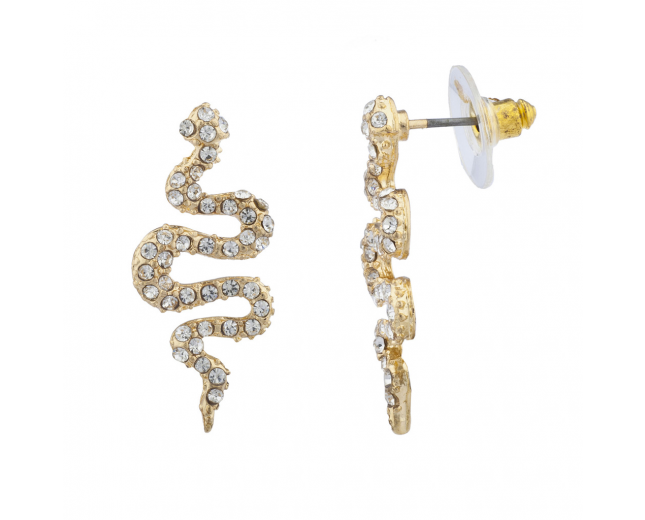 Gold Tone Pave Snake Post Earrings