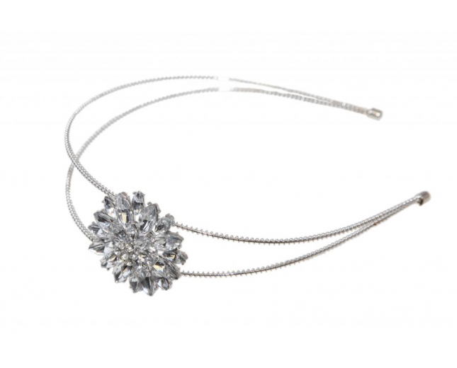 Crystal Rhinestone Flower Floral Textured Adjustable Headband