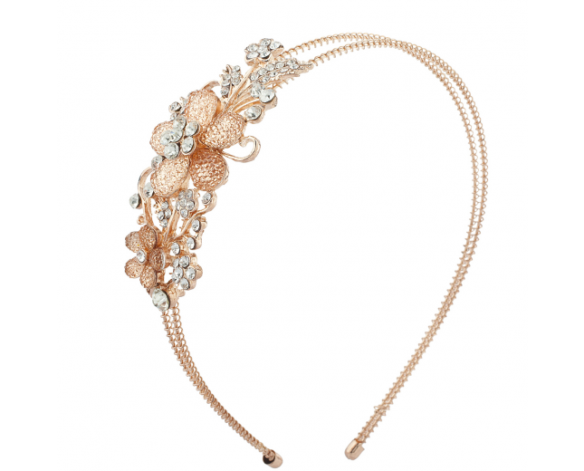 Rose Gold Tone Floral Stone Bridal Flower Girl Wire Headband