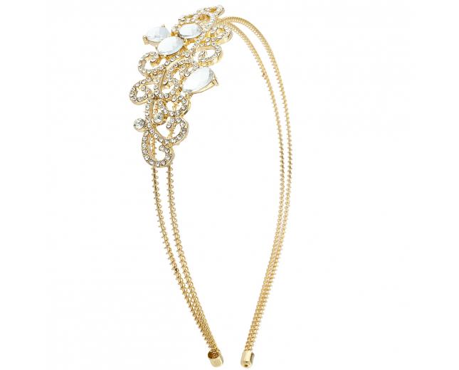 Gold Tone Bride Bridal Wedding Embroidered Stone Wire Headband